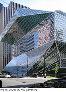 Photo:Seattle Central Library by architect Rem Koolhaas